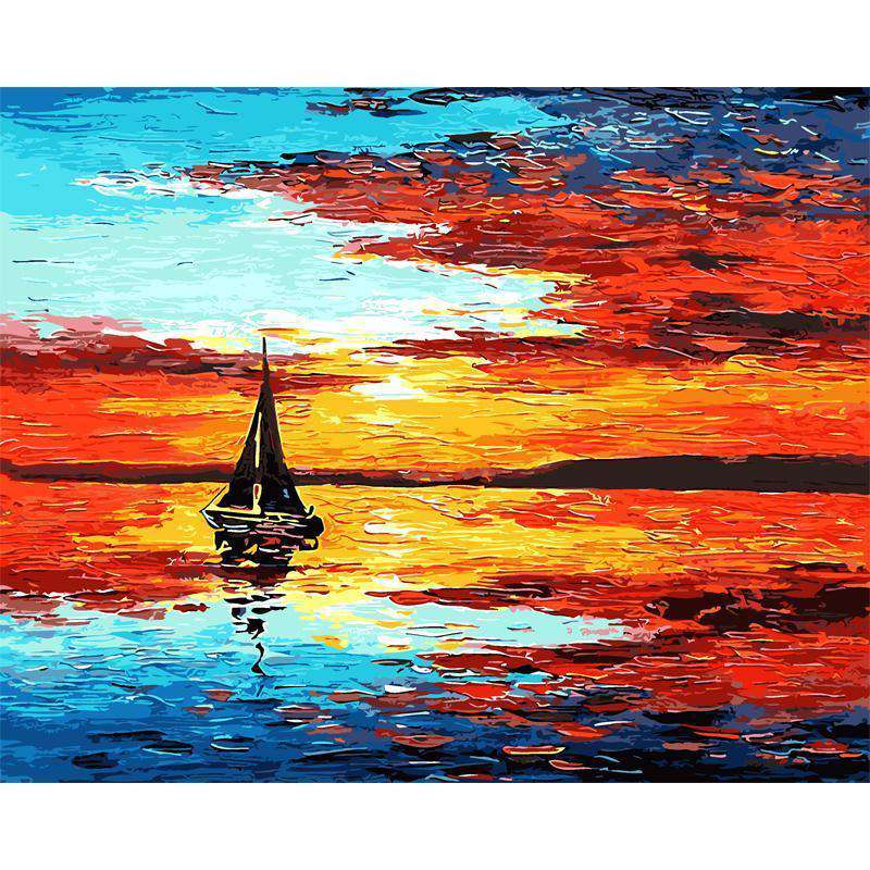 Seascape Sailboat Sunset - Paint by Numbers Kits for Adults DIY