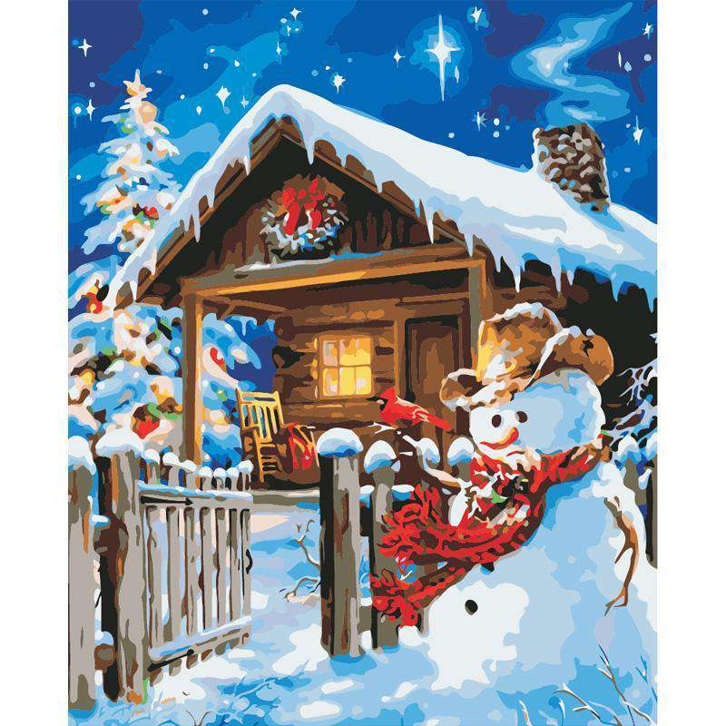 Snow Christmas House - Paint by Numbers Kits for Adults DIY