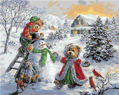 Snowman and Bears - Paint by Numbers Kits for Adults DIY
