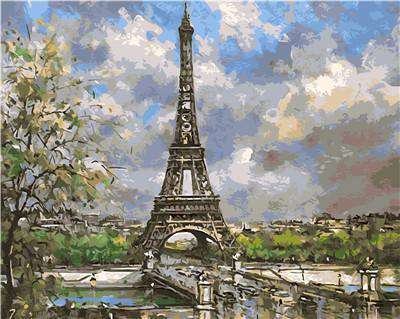 Spring in Paris Eiffel Tower - Paint by Numbers Kits for Adults DIY