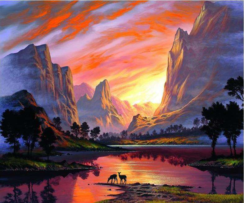 Sunset River Valley - Paint by Numbers Kits for Adults DIY - Paint by Numbers for Adults