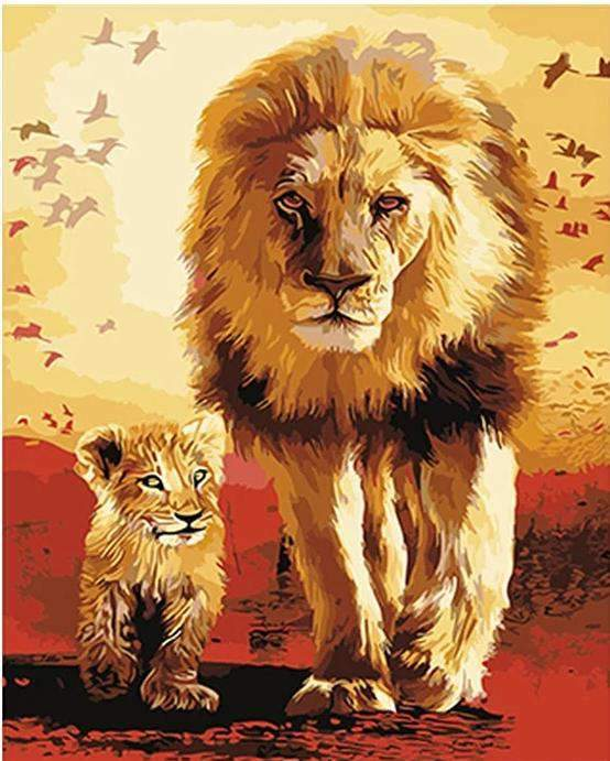 The Lion King - Mufasa & Simba - Paint by Numbers Kits for Adults DIY - Paint by Numbers for Adults