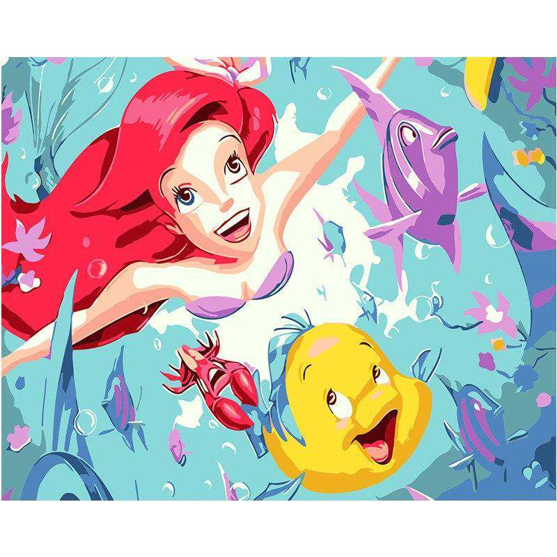 The Little Mermaid Ariel - Paint by Numbers Kits for Adults DIY - Paint by Numbers for Adults