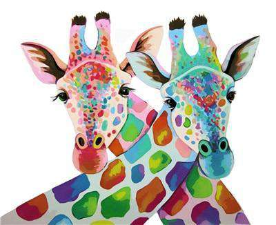 Two Colorful Giraffes - Paint by Numbers Kits for Adults DIY