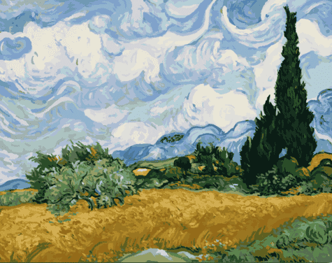 Van Gogh A Wheat Field with Cypresses - Paint by Numbers Kits for Adults DIY - Paint by Numbers for Adults