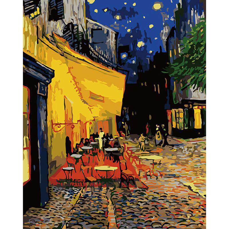 Van Gogh Cafe Terrace at Night - Paint by Numbers Kits for Adults DIY - Paint by Numbers for Adults
