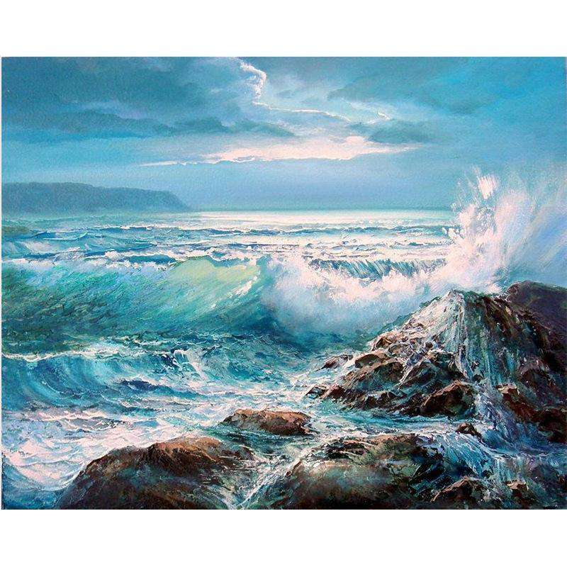 Waves Crashing on Rocks - Paint by Numbers Kits for Adults DIY - Paint by Numbers for Adults