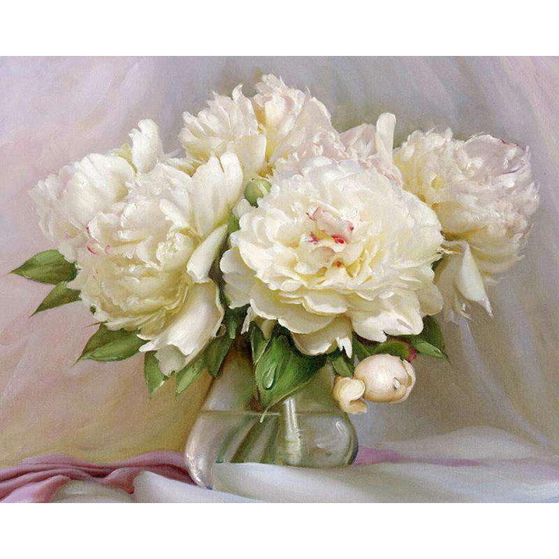 White Flowers - Paint by Numbers Kits for Adults DIY - Paint by Numbers for Adults
