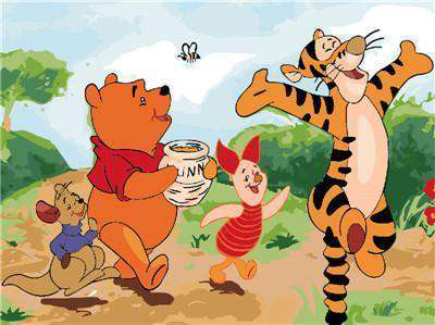 Winnie the Pooh and his friends walking in the forest - Paint by Numbers Kits for Adults DIY