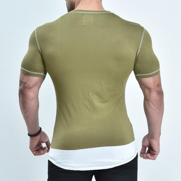 V-Shape T-Shirt - Olive Green - Short Sleeve - Quake Sportswear Qatar