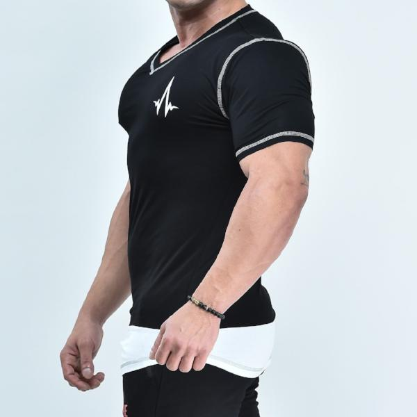 V-Shape T-Shirt - Black - Short Sleeve - Quake Sportswear Qatar