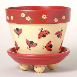 """Lady Bug Dance"" - Flower Pot Stencil"