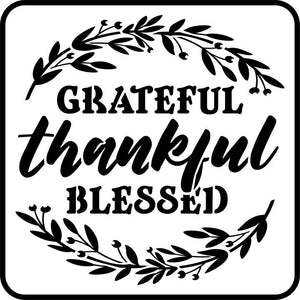 "Jami Ray Vintage ""Grateful Thankful Blessed"" Stencil"