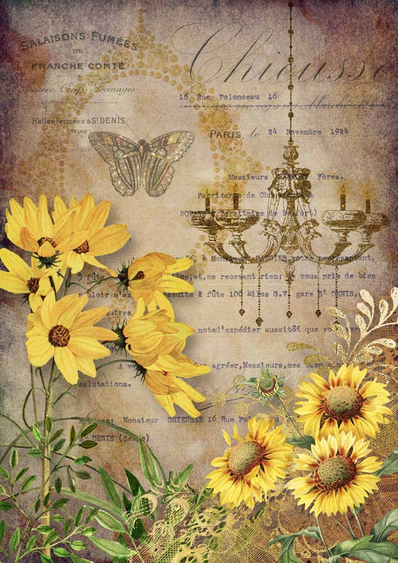 Decoupage Queen - Elegant Sunflowers with Chandelier