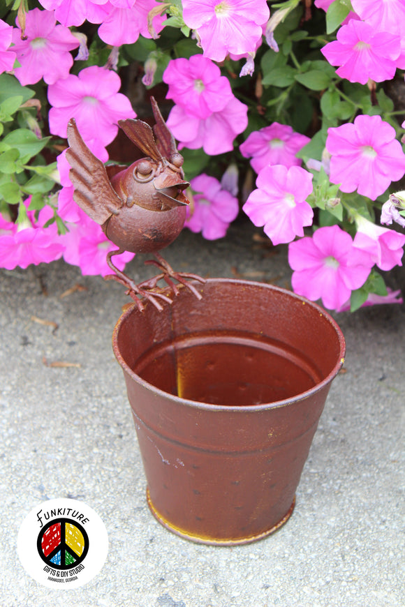 Metal Planter with Funky Bird