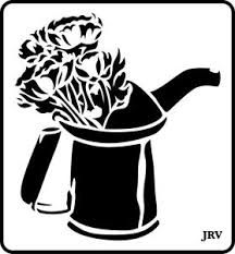 JRV Oil Can with Flowers Stencil