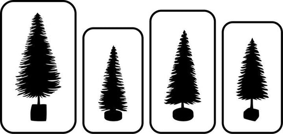 JRV Bottle Brush Tree Stencils Set of 4