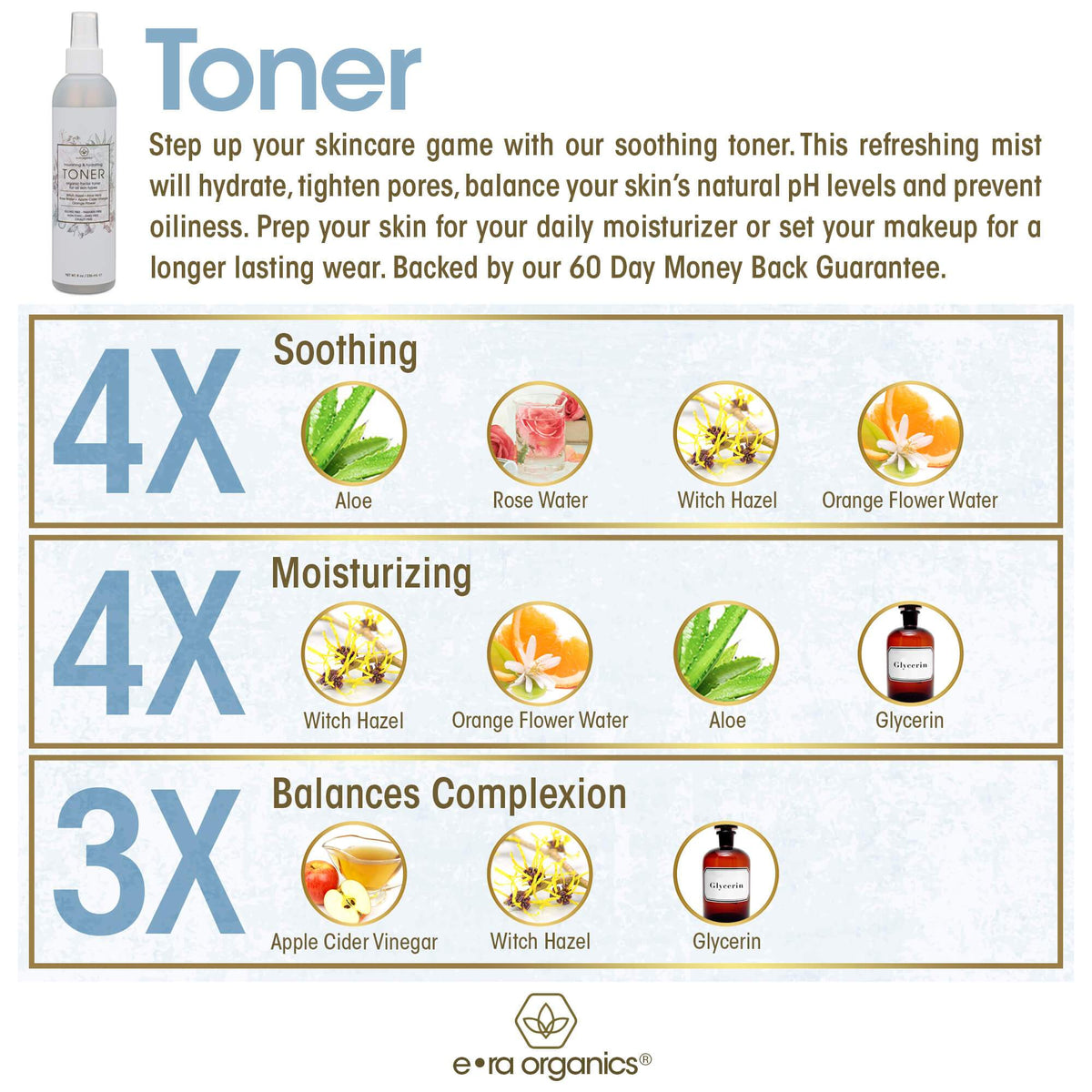 Face Toner witch Hazel, Apple Cider Vinegar, Rose Water