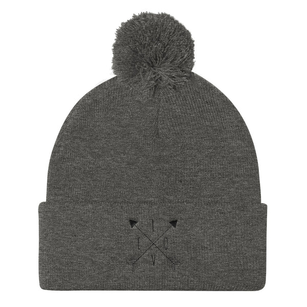 LOVE Arrow-Style Pom Pom Knit Cap