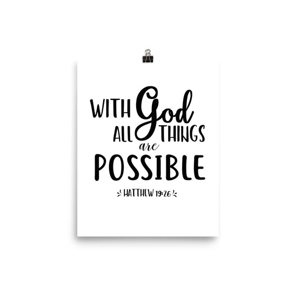 With God All Things Are Possible Wall Art Poster