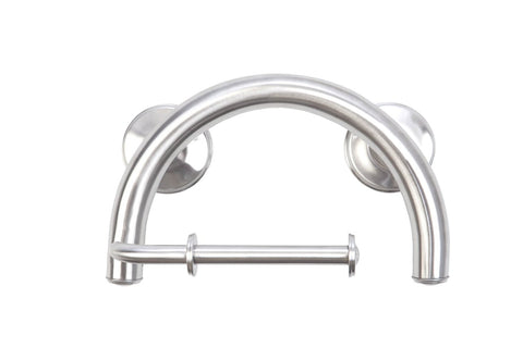 GRABCESSORIES 2-IN-1 GRAB BAR TOILET PAPER HOLDER W/GRIPS & FREE ANCHORS (2) BRUSHED NICKEL
