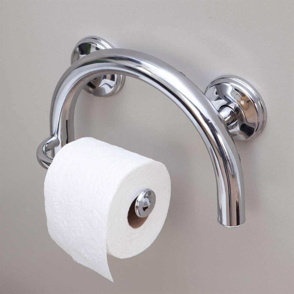 GRABCESSORIES 2-IN-1 GRAB BAR TOILET PAPER HOLDER W/GRIPS & FREE ...