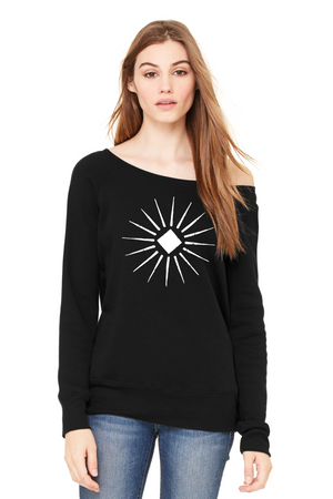 Starburst Fitted Wide-Neck Sweatshirt