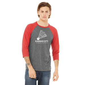 3/4 sleeve shuttlecock grey red tee