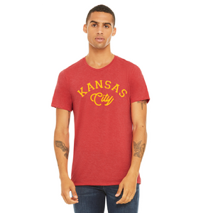 kc gold arch red tee shirt
