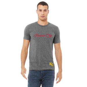 kc red script athletic grey heather tee