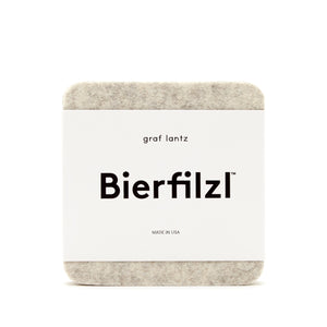 Heather White Bierfilzl Square Felt Coaster