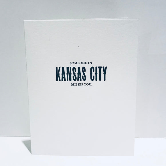 city limits greeting card someone in kansas city misses you