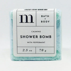 mixture shower bomb calming with peppermint