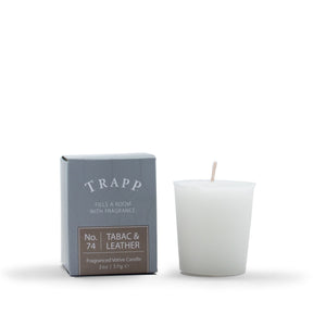 trapp candle 2oz. votive tobacco and leather