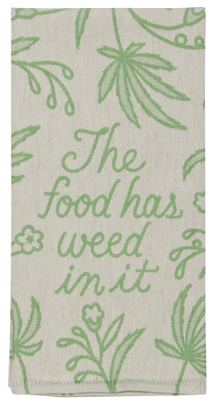 blue q woven dish towel weed