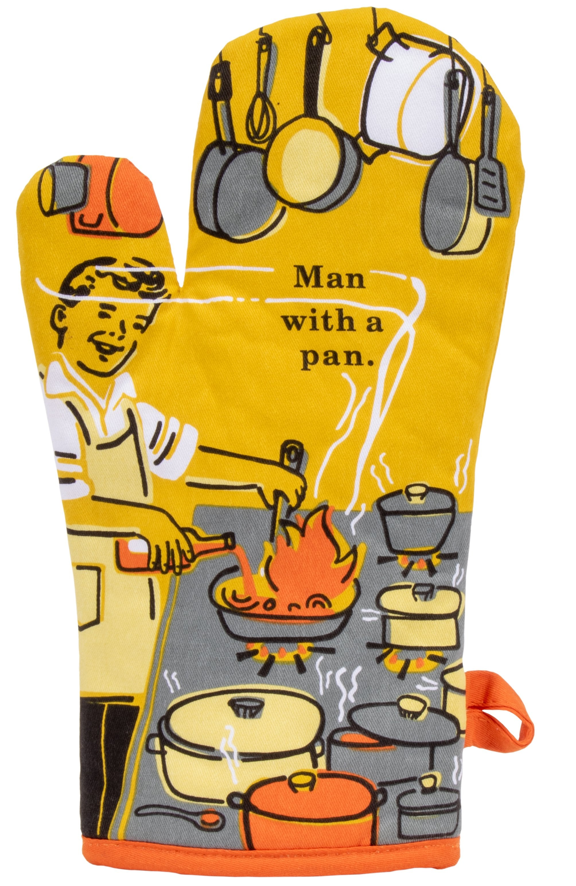 blue q oven mitts man with a pan