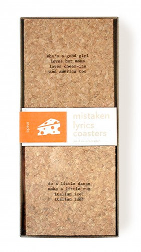 mistaken lyric coaster set of six