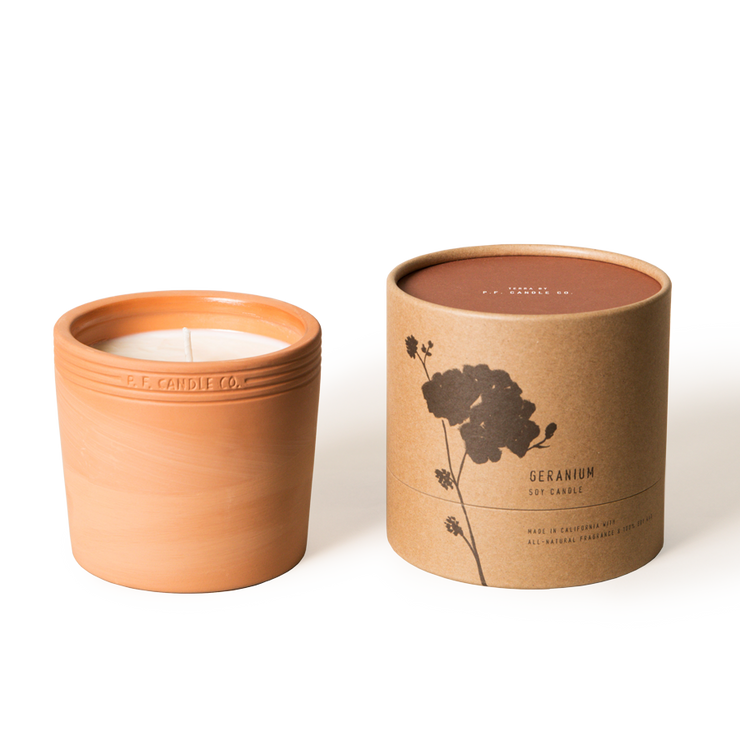 P.F. Candle Co. - Geranium - All-Natural 17.5 oz Terra Soy Candle