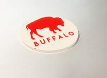 Load image into Gallery viewer, Buffalo White with Red Buffalo Circle Acrylic Coaster 4 Pack Designed and Handcrafted in Buffalo NY