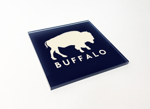 Buffalo Blue with White Buffalo Square Acrylic Coaster 4 Pack Designed and Handcrafted in Buffalo NY