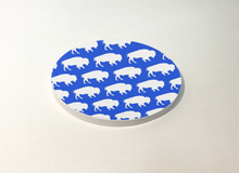 Load image into Gallery viewer, Buffalo Blue with White Buffalo Pattern Circle Coaster 4 Pack Designed and Handcrafted in Buffalo NY
