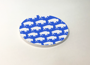 Buffalo Blue with White Buffalo Pattern Circle Coaster 4 Pack Designed and Handcrafted in Buffalo NY