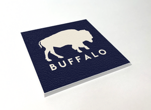 Buffalo Classic Blue Square Coaster 4 Pack Designed and Handcrafted in Buffalo NY