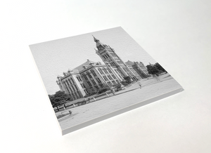 Buffalo Black and White Old City Hall Square Coaster 4 Pack Designed and Handcrafted in Buffalo NY