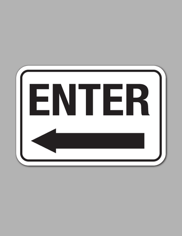Enter Left Arrow (Long) - Traffic Sign