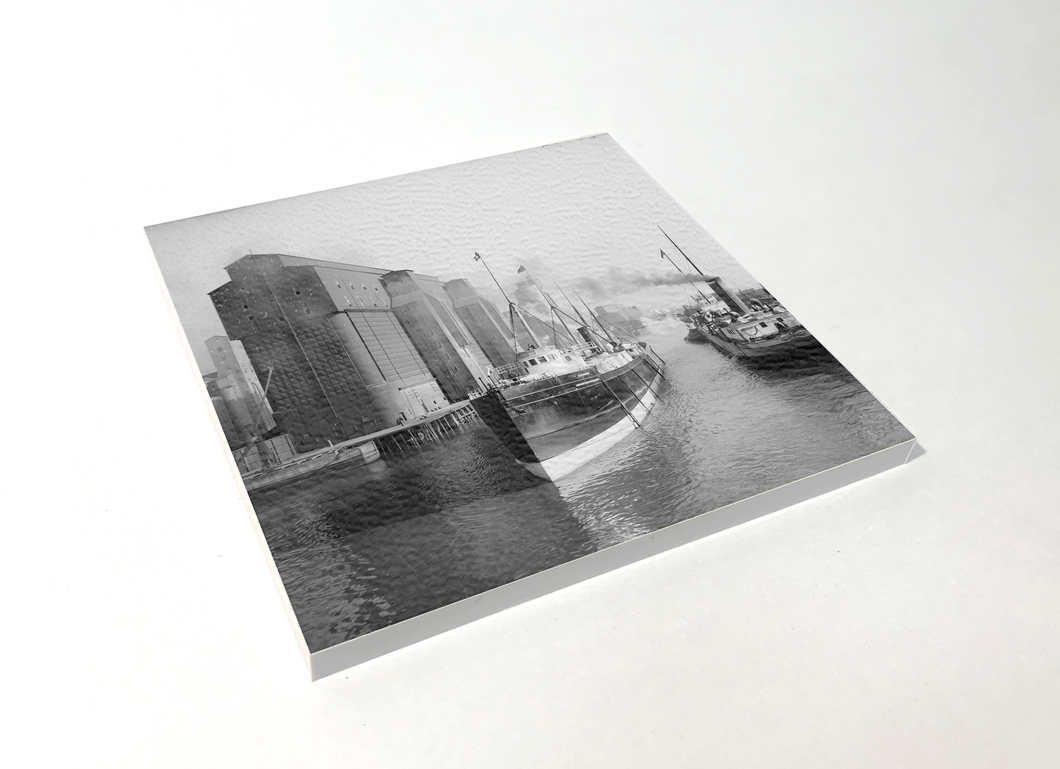Buffalo Black and White Buffalo River Grain Elevators Square Coaster 4 Pack Designed and Handcrafted in Buffalo NY