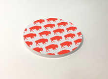 Load image into Gallery viewer, Buffalo White with Red Buffalo Pattern Circle Plastic Coaster 4 Pack Designed and Handcrafted in Buffalo NY