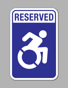 Reserved Handicap Parking - Parking Sign - Active (Blue Background)