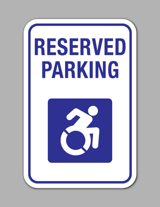 Reserved Handicap Parking - Parking Sign - Active (White Background)