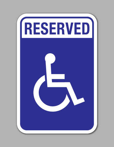 Reserved Handicap Parking - Parking Sign - Standard (Blue Background)